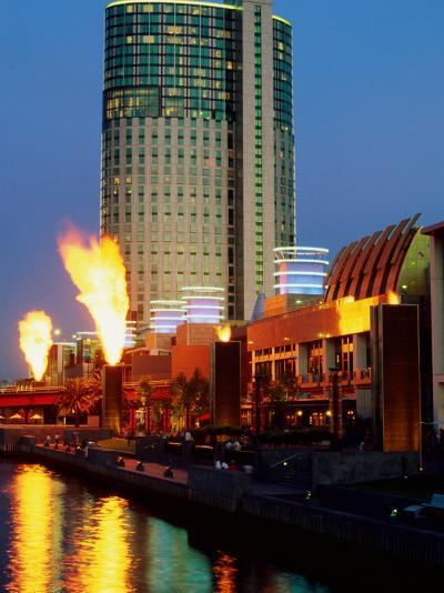Crown Casino with Riverside Flame Display, Melbourne, Victoria, Australia-Christopher Groenhout-Photographic Print