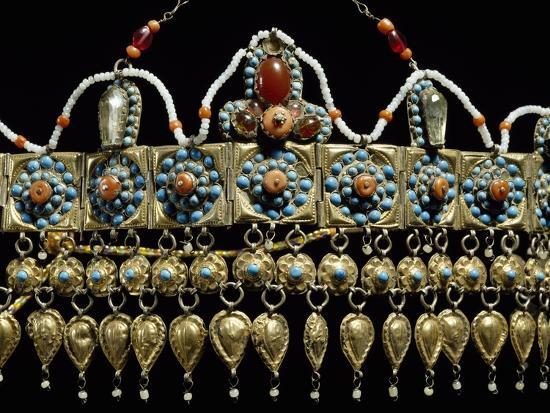 Crown of Silver-Gilt, Coral, Turquoise and Glass Paste from Samarkand, Uzbekistan--Giclee Print