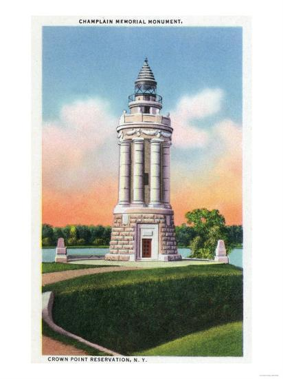 Crown Point Reservation, New York - View of the Champlain Memorial Monument-Lantern Press-Art Print