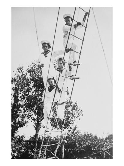 Crown Prince of Germany's Children Frolic on What Appears to Be a Ship's Ratline or Rope Ladder--Art Print