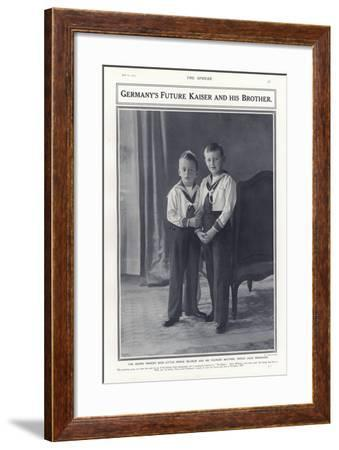 Crown Prince Wilhelm and Prince Louis Ferdinand, Sons of Kaiser Wilhelm II of Germany, 1913--Framed Photographic Print