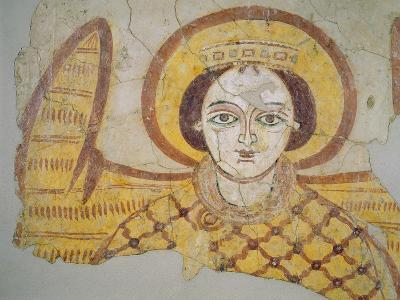 Crowned Archangel with Spread Wings, from the Cathedral of Faras, Sudan (Fresco)- Coptic-Giclee Print