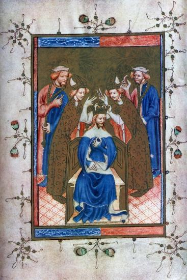 Crowning of a King, from the Liber Regalis, Westminster Abbey, 14th Century--Giclee Print