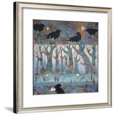 Crows and Waterlilies-Sue Davis-Framed Giclee Print