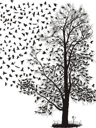 Crows Fly Away from the Tree-Gepard-Art Print