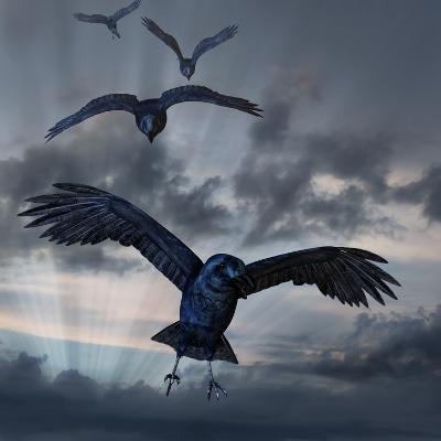 Crows Flying-AlienCat-Art Print
