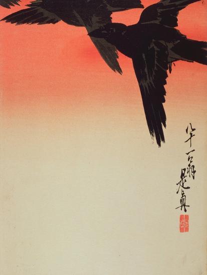 Crows in Flight at Sunrise, 1888-Shibata Zeshin-Giclee Print