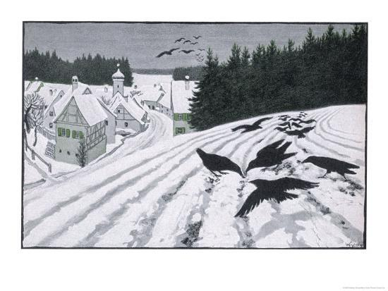 Crows Search for Food in the Snow in Fields on the Outskirts of a German Village-Walther Georgi-Giclee Print