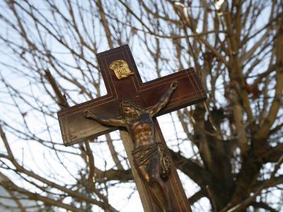Crucifix, Saint Gervais, Haute Savoie, France, Europe-Godong-Photographic Print