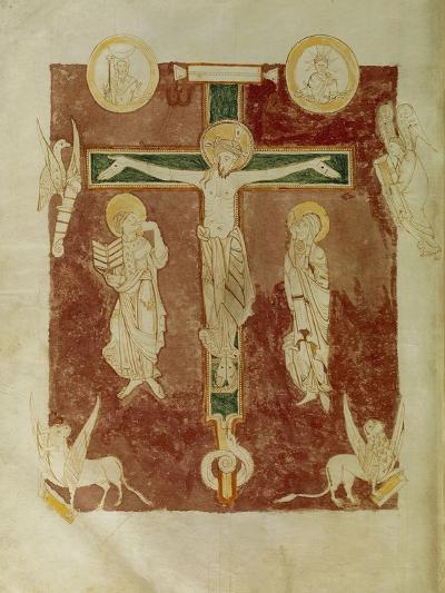 Crucifixion and the Four Evangelists, Miniature from the Psalter of Saint Germain Des Pres--Giclee Print