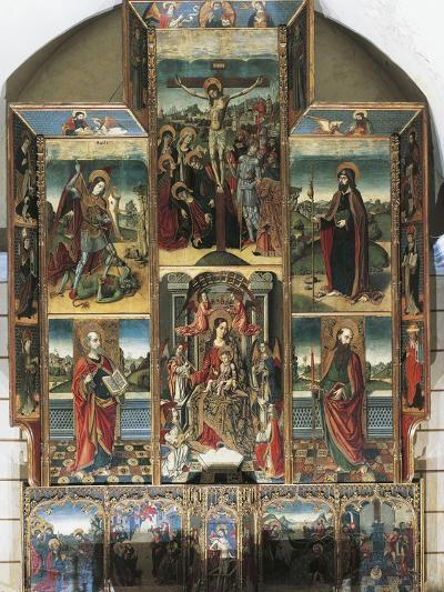 Crucifixion, Madonna Enthroned and Saints, Right Chapel Altarpiece by Master of Castelsardo--Giclee Print