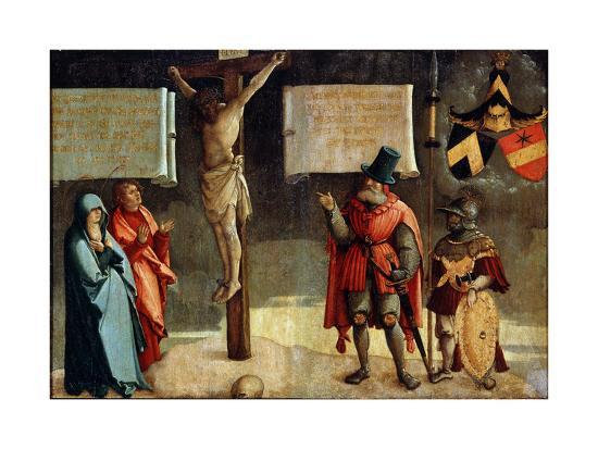 Crucifixion with Donors, 16th Century--Giclee Print