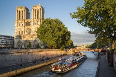 Cruise Barge, River Seine, and Cathedral Notre Dame, Paris, France-Brian Jannsen-Photographic Print