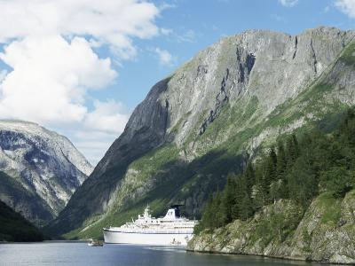 Cruise Ship at Gudvangen, Naeroyfjorden, Unesco World Heritage Site, Western Fiordlands, Norway-Tony Waltham-Photographic Print