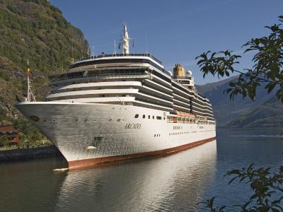 Cruise Ship Berthed at Flaams, Fjordland, Norway, Scandinavia, Europe-James Emmerson-Photographic Print