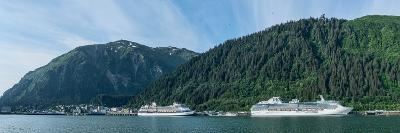 Cruise ship docked at a port with mountain the background, Juneau, Southeast Alaska, Alaska, USA--Photographic Print