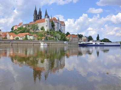 Cruise Ship on the Elbe before the Albrechtsburg in Meissen, Saxony-Michael Runkel-Photographic Print