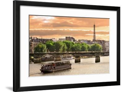 Cruise Ship On The Seine River In Paris, France-rglinsky-Framed Art Print