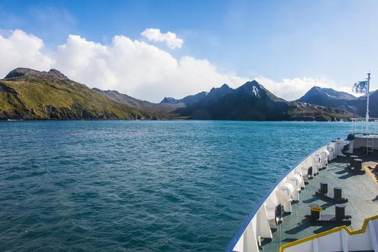 Cruise ship shipping to Ocean Harbour, South Georgia, Antarctica, Polar Regions-Michael Runkel-Photographic Print