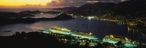 Cruise Ships Lit Up at Dusk, Charlotte Amalie, St. Thomas, US Virgin Islands