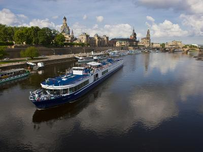 Cruise Ships on the River Elbe, Dresden, Saxony, Germany, Europe-Michael Runkel-Photographic Print