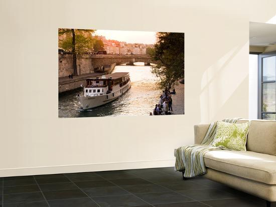 Cruiseboat and Sunset on the Seine-Glenn Beanland-Wall Mural