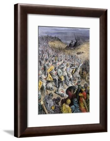 Crusaders under Godfrey of Bouillon, Defeating Muslim Forces of Sultan Kilij Arslan, Dorylaeum--Framed Giclee Print