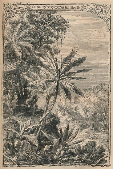 'Crusoe Discovers Goats on the Island', c1870-Unknown-Giclee Print