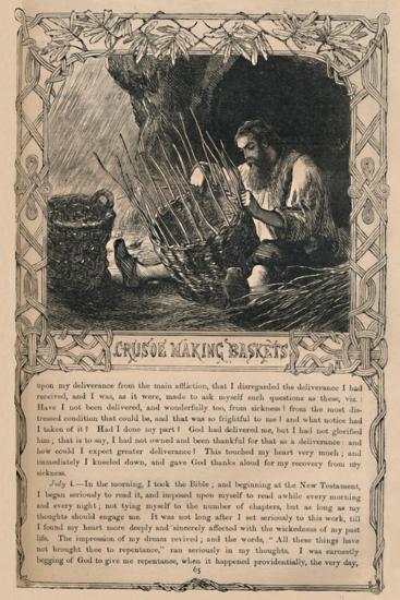 'Crusoe Making Baskets', c1870-Unknown-Giclee Print