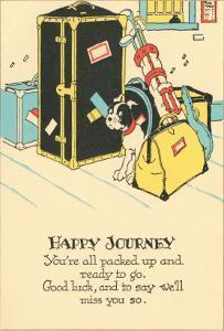 Crying Dog Amid Luggage, Happy Journey