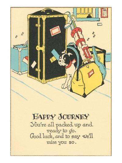 Crying Dog Amid Luggage, Happy Journey--Art Print