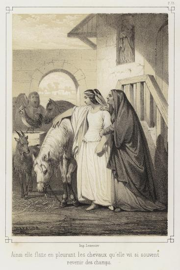 Crying, She Stroked the Horses That She So Often Saw Returning from the Fields--Giclee Print