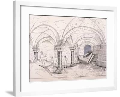 Crypt of St Mary-Le-Bow, C1819-Frederick Nash-Framed Giclee Print