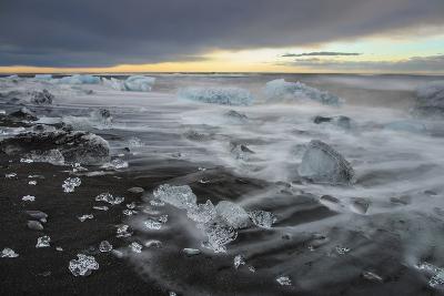 Crystal Clear Icebergs and Volcanic Sand Beach on the Atlantic Shore Near Jokulsarlon Glacier Lake-Babak Tafreshi-Photographic Print