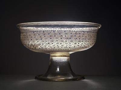 Crystal Glass Bowl Decorated with Rosettes and Diamond Pattern in White Enamel, Blue and Gold--Giclee Print