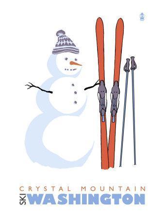 Crystal Mountain, Washington, Snowman with Skis-Lantern Press-Art Print