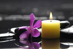 Zen-Like Scene with Flower and Candles and Stones by crystalfoto