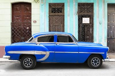 Cuba Fuerte Collection - 66 Street Havana Blue Car-Philippe Hugonnard-Photographic Print
