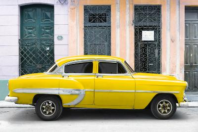 Cuba Fuerte Collection - 66 Street Havana Yellow Car-Philippe Hugonnard-Photographic Print