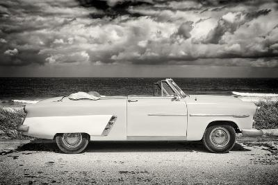 Cuba Fuerte Collection B&W - American Classic Car on the Beach II-Philippe Hugonnard-Photographic Print