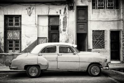 Cuba Fuerte Collection B&W - Classic American Car in Havana Street III-Philippe Hugonnard-Photographic Print