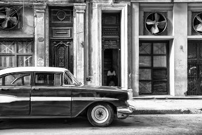 Cuba Fuerte Collection B&W - Classic Car in Central Havana Street II-Philippe Hugonnard-Photographic Print