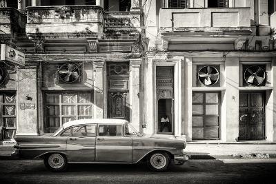 Cuba Fuerte Collection B&W - Classic Car in Central Havana Street III-Philippe Hugonnard-Photographic Print