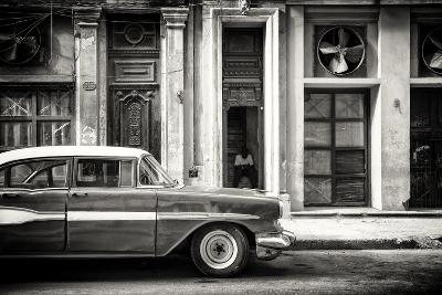 Cuba Fuerte Collection B&W - Classic Car in Central Havana Street-Philippe Hugonnard-Photographic Print