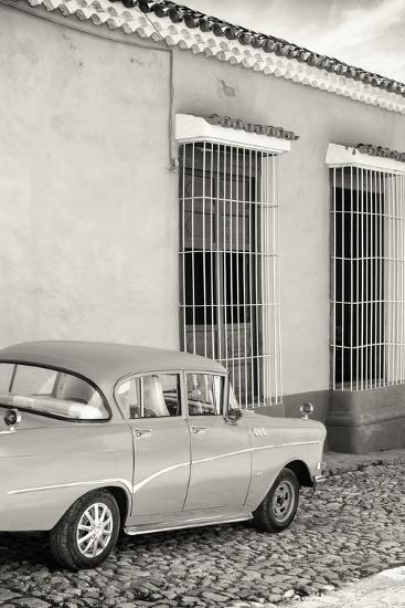 Cuba Fuerte Collection B&W - Classic Car in Sancti Spiritus-Philippe Hugonnard-Photographic Print