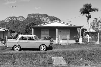 Cuba Fuerte Collection B&W - Classic car in Vinales Valley-Philippe Hugonnard-Photographic Print