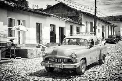 Cuba Fuerte Collection B&W - Cuban Taxi in Trinidad II-Philippe Hugonnard-Photographic Print
