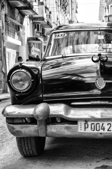 Cuba Fuerte Collection B&W - Old American Taxi Car IV-Philippe Hugonnard-Photographic Print