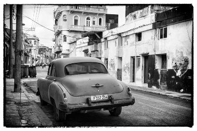 Cuba Fuerte Collection B&W - Old Car in the Streets of Havana III-Philippe Hugonnard-Photographic Print