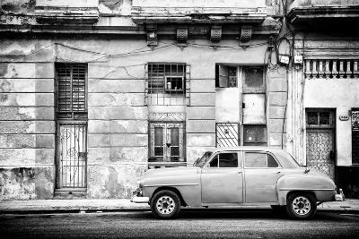 Cuba Fuerte Collection B&W - Old White Car in Havana-Philippe Hugonnard-Photographic Print